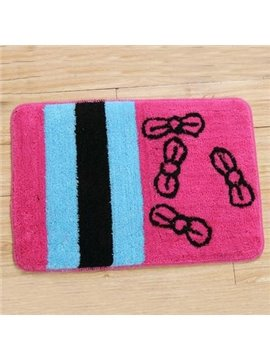 Popular Rectangular Pink Bowknot Non-Slip Doormat