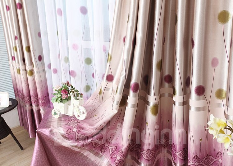 Cute Dandelion Design Pink Purple Color Scheme Grommet Top Curtain for Living Room