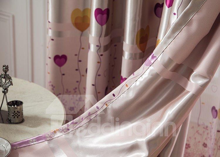 Heart Shape Balloon Design Pink Color Grommet Top Curtain