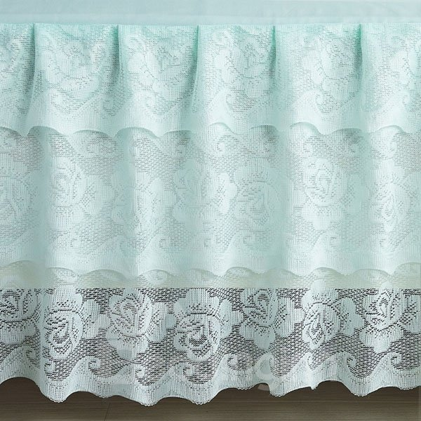 Light Blue Hollow Out Lace Corner Polyster Bed Skirt