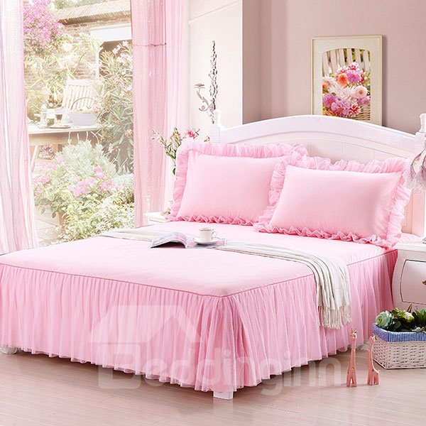 Prue Pink Fold Corner Princess Style Cotton Bed Skirt