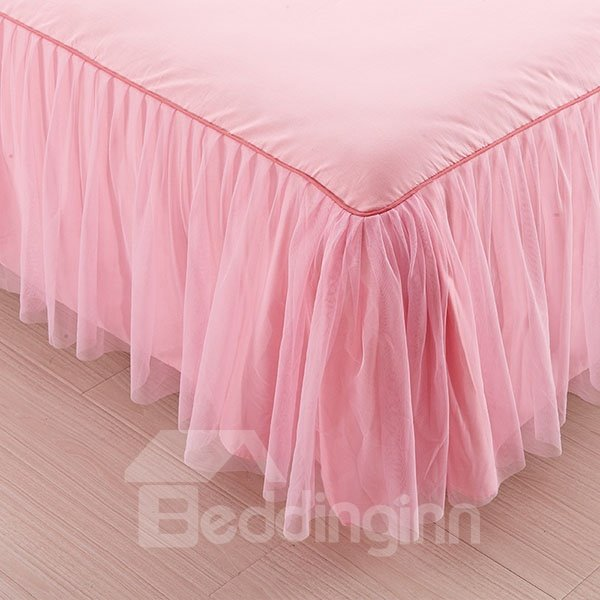 Prue Pink Fold Corner Princess Style Cotton Bed Skirt