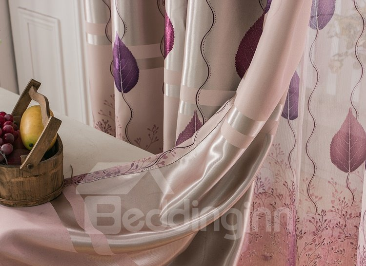 Blackout and Decoration Purple Tree and Leaves Elegant Style Grommet Top Room Curtain