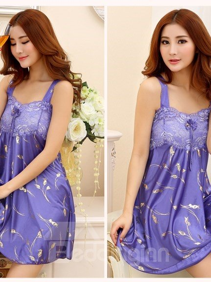 Comfy Lace Bust Wide Shoulder Straps Artificial Silk Chemise