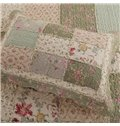 Pastoral-Style Floral Prints Patchwork Cotton 3-Piece Shallow Green Bed in a Bag