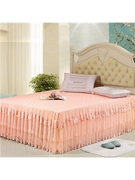 Princess Style with Lace Corner and Beautiful Flowers Cotton Bed Skirt