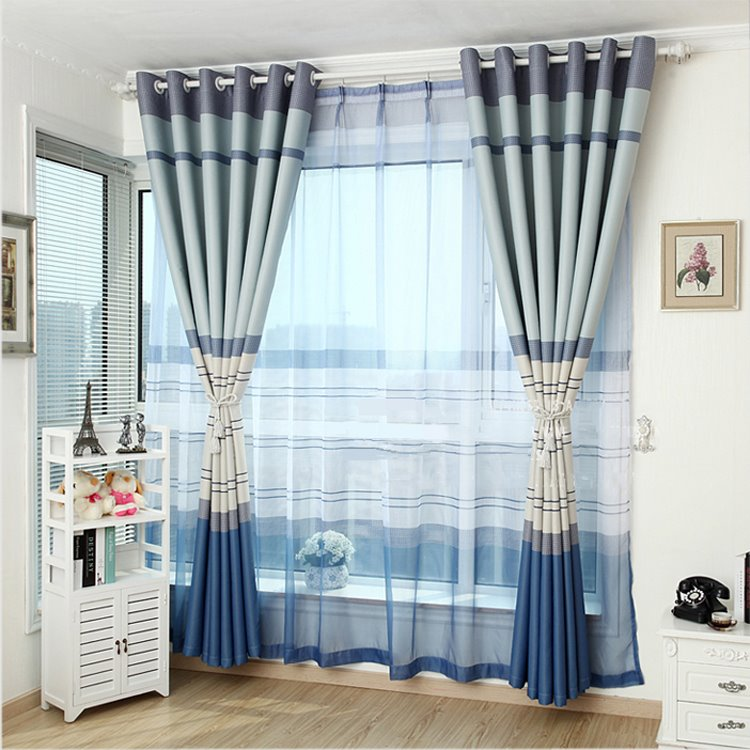 Decoration and Blackout Polyester Cotton Horizontal Stripes Classical Style Grommet Top Curtain