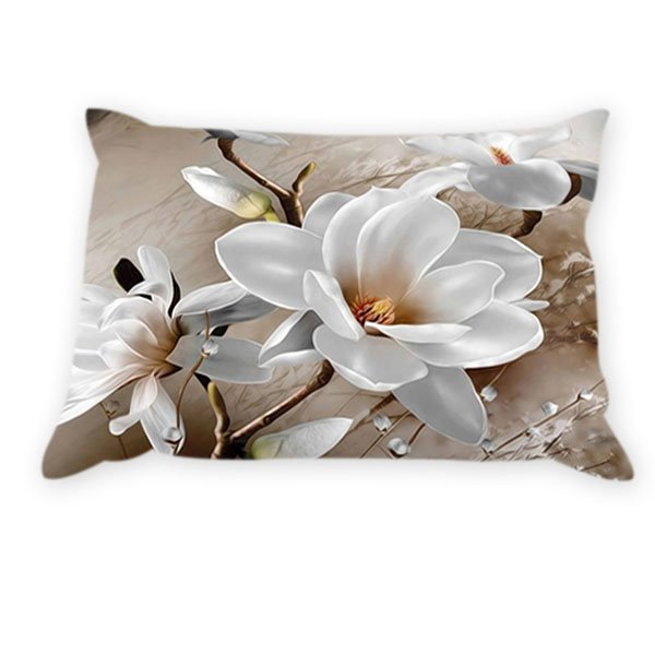 White Flowers Pattern 2-Piece Cotton Pillowcases