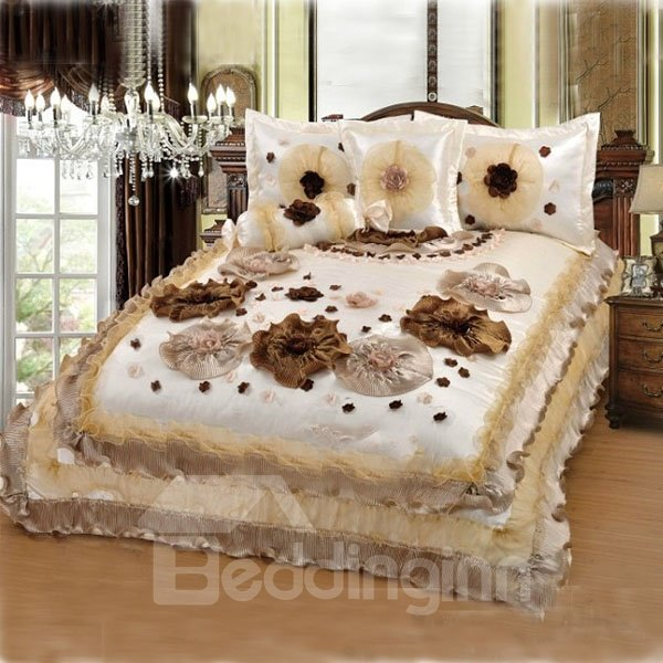 3D Handcraft Flower Polyester 3-Piece Bed in a Bag