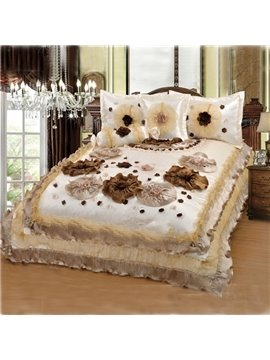 Cinderella Series Extremely Elegant and Attractive Lace Flowers Printed Bed in a Bag Set
