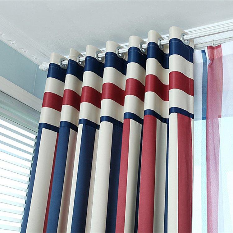 Blackout Stylish Multi Color Stripe Grommet Top Curtain