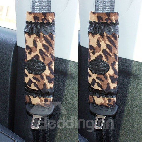 Classical Dark Color Leopard Printed One Pair Seat Belt Cover