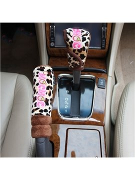 Extremely Cute Leopard Printed Gear Cover and Hand Brake Cover