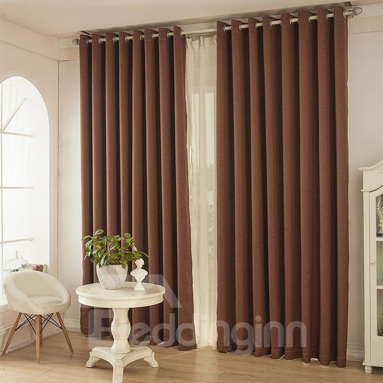 Classic Coffee Color Thickening Functional Blackout Grommet Top Curtain