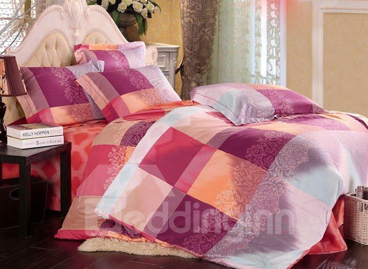 Checkered Pattern 4-Piece Tencel Duvet Cover Sets