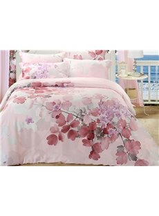 Dreamlike Flower Print 4-Piece Tencel Duvet Cover Sets