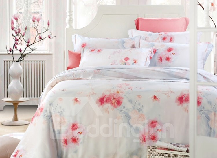 Red Plum Flower Print 4-Piece Tencel Duvet Cover Sets