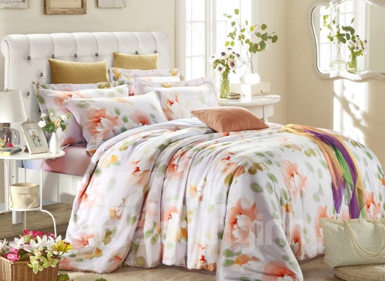 Delicate and Charming Flower Print 4-Piece Tencel Duvet Cover Sets