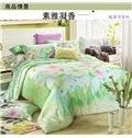 Fresh Green Flower Print 4-Piece Tencel Duvet Cover Sets