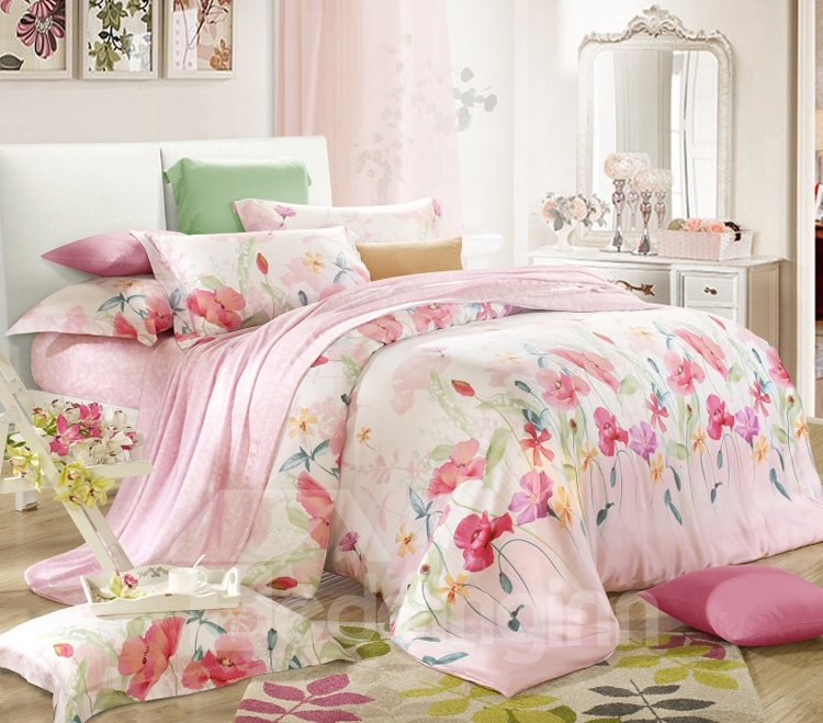 Daphne Odera Print 4-Piece Tencel Duvet Cover Sets
