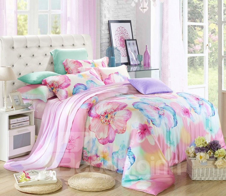 Amazing Flower Oil Painting 4-Piece Tencel Duvet Cover Sets