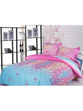 Spring Floral Print 4-Piece Cotton Duvet Cover Sets