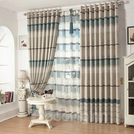 High Class Eco-fine Blue and Light White Linen Living Room Bedroom Grommet Top Curtain