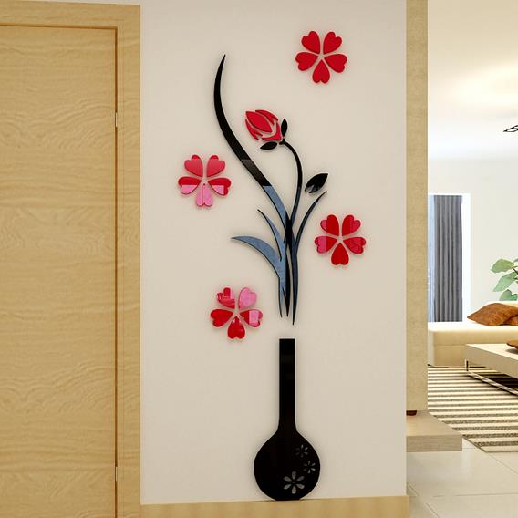 Black Vase And Red Flowers Acrylic 3D Wall Stickers Part 3