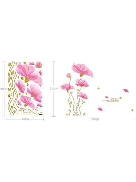 Wonderful Pretty Pink Flowers Wall Stickers