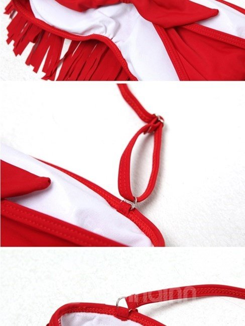 Red Tassel Bow Knot Closure Panties Bikini