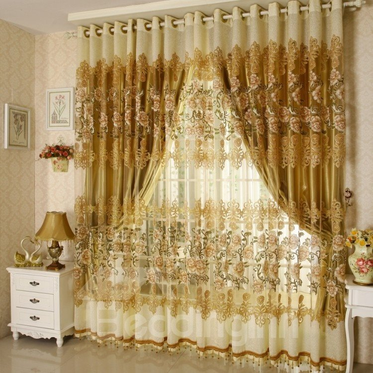 Decoration And Breathable Luxury Golden Peony Pattern