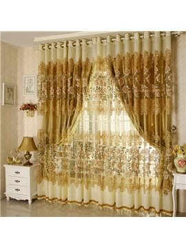 Luxury Golden Floral Pattern Jacquard Custom Grommet Top Sheer Curtains