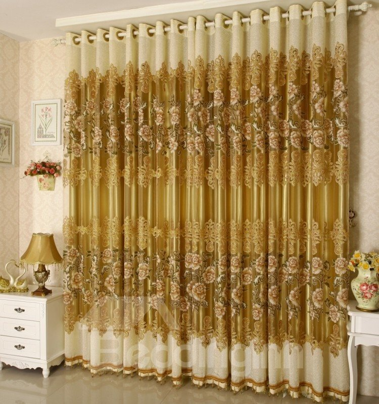 Decoration and Breathable Luxury Golden Peony Pattern Jacquard Custom Sheer Curtain