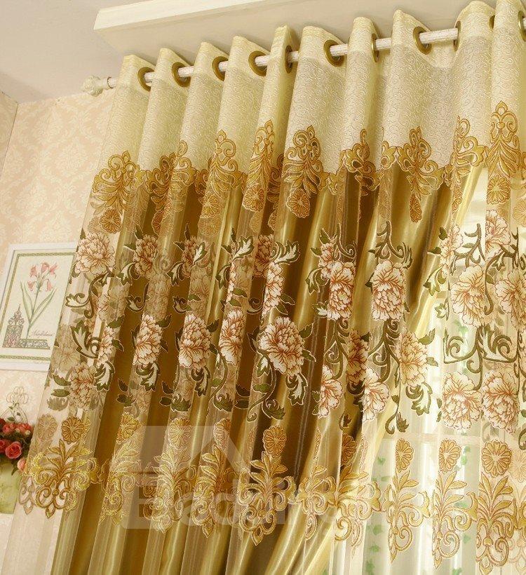 Luxury Golden Floral Pattern Jacquard Custom Grommet Top Sheer Curtains