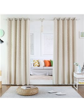 Korean Style Cute Little Stars Printing Grommet Top Curtain