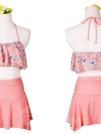 Classic Uneven Hem Design Floral Bust 2 Pieces Orange Skirt Bikini