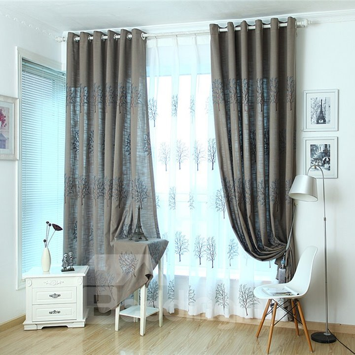 Dark Blue Tree Pattern High Shading Degree Grommet Top Curtain