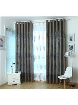 Dark Blue Tree Pattern High Shading Degree Grommet Top Curtain
