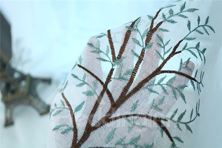 Elegant Embroidery Tree Pattern Custom Sheer Curtain