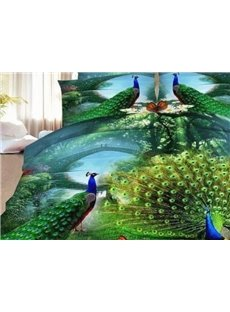 Beddinginn Green Peacock Print 4-Piece Polyester 3D Duvet Cover Sets