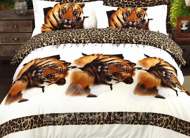Wild Tiger Print 4-Piece Polyester 3D Duvet Cover Sets