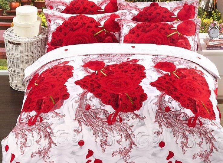 Love in First Sight Print 4-Piece Polyester 3D Duvet Cover Sets