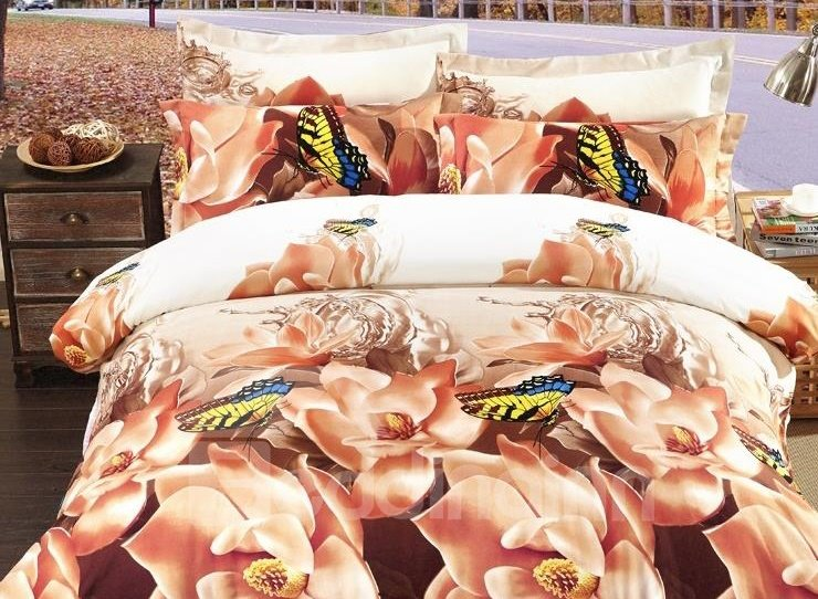 Rose and Butterfly Print 4-Piece Polyester 3D Duvet Cover Sets