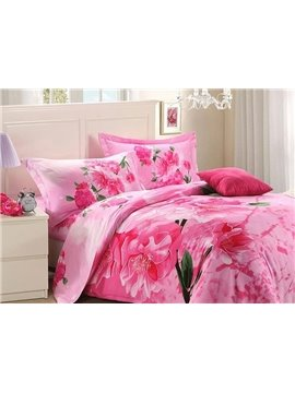 Amazing Pink Flower Print 4-Piece Polyester 3D Duvet Cover Sets