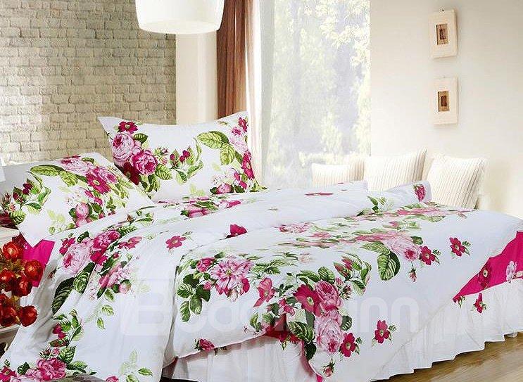 Graceful Floral Print 4-Piece Cotton Duvet Cover Sets