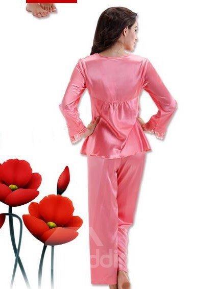 Sweet Pink Elegant Ruffle Bust 2 Pieces Pajamas