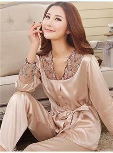 V Neck Long Sleeves Belted Lace Cuffs Pajamas