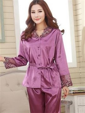 V Neck Long Sleeves Beletd Romantic Purple Pajamas