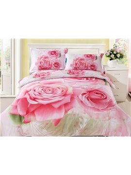 Pink Rose Print 4-Piece Cotton Duvet Cover Sets