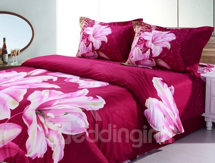 Charming Fragrant Lily 4-Piece Cotton Duvet Cover Sets